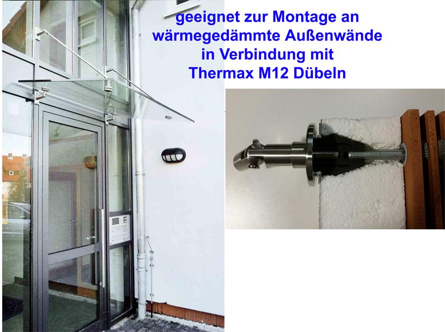Punkthalter Glashalter Plattenhalter Edelstahl Halter Rohr Vordach Glas